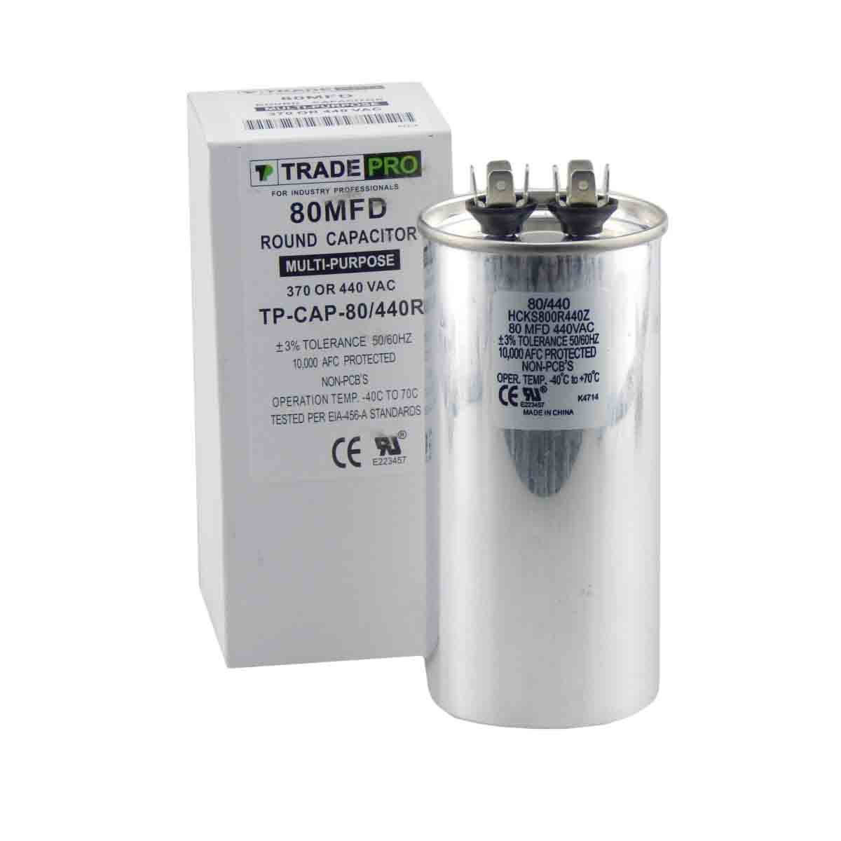 80 mfd Capacitor, Industrial Grade Replacement for Central Air-Conditioners, Heat Pumps, Condensers, and Compressors. Round Multi-Purpose 370/440 Volt - by Trade Pro TradePro
