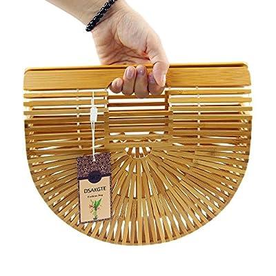 Women's Top Handle Bamboo Handbag Summer Beach Tote Bag
