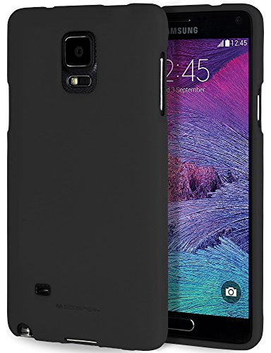 Galaxy Note 4 Case with Screen Protector [Slim Fit] Mercury Soft Feeling Jelly [Flexible] Rubber TPU Case [Lightweight] Protective Cover for Samsung Galaxy Note 4 (Black) NT4-SFJEL/SP-BLK