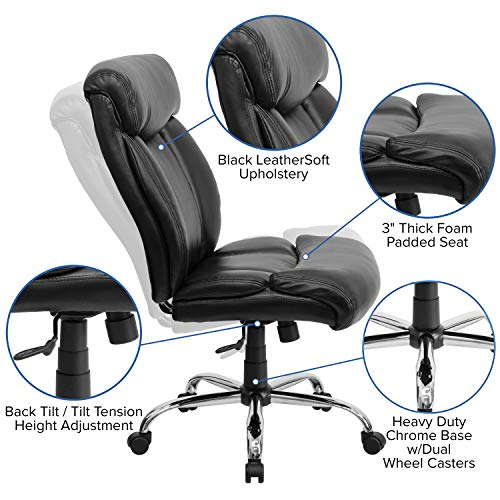 Flash Furniture HERCULES Series Big & Tall 400 lb. Rated Black Leather Executive Swivel Chair - GO-1235-BK-LEA-GG