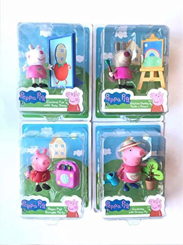 Set of 4 ~ Peppa Pig's Karaoke Party, Carnival Fun with Suzy Sheep, Delphine Donkey Paints a Picture and Gardening with Granny Pig (Homemade Costume Face Paint)