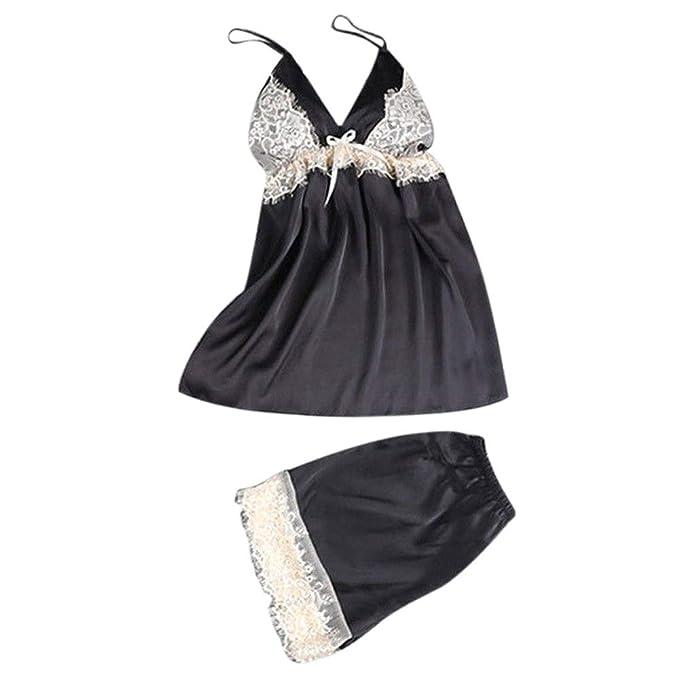 3fab573703 Amazon.com  Usstore Women 3PCS Lace Satin Pajamas Sets Sexy Fashion Bras  Bow Sling Shorts Bathrobe with Belt Lingerie Sleepwear  Clothing