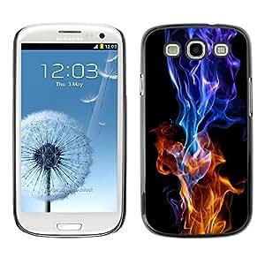 [Neutron-Star] Snap-on Series Teléfono Carcasa Funda Case Caso para Samsung Galaxy S3 [Red Blue Flame Burning Negro vibrante]