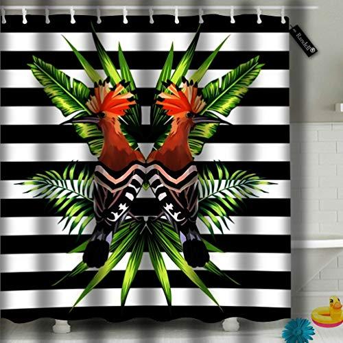 txregxy Bathroom Curtains Shower Curtain Abstract Tropic Animals Hoopoe Bird in Trendy -
