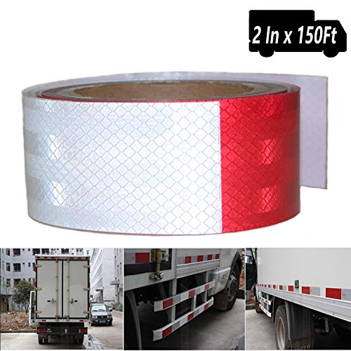 (Waterproof Reflective Conspicuity Safety Tape DOT-C2 Self Adhesive Strip Sticker,High Intensity Grade Reflector Hazard Caution Warning Sticke Tape for Trailer Trucks Auto (2