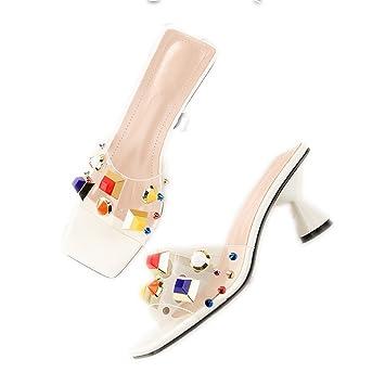 GTUFDRG NEUE Frau Bunte Strass Niete Gleitet High Heels Flip Flops Hausschuhe White 4 vo2vA