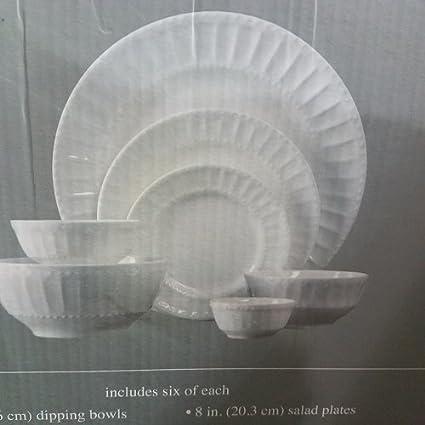 The Cellar Dinnerware White Elements u0026quot; Paloma Embossed u0026quot; ... & Amazon.com | The Cellar Dinnerware White Elements
