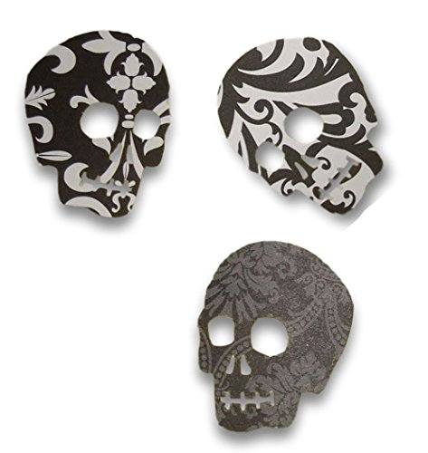 """[Custom & Fancy {2"""" Inch} 30 Pieces of Large """"Table"""" Party Confetti Made of Premium Card Stock w/ Assorted Damask Pattern Halloween Skeleton Skull Scatter Crafts Topper Design [White, Black & Gray]] (Custom Halloween Pattern)"""