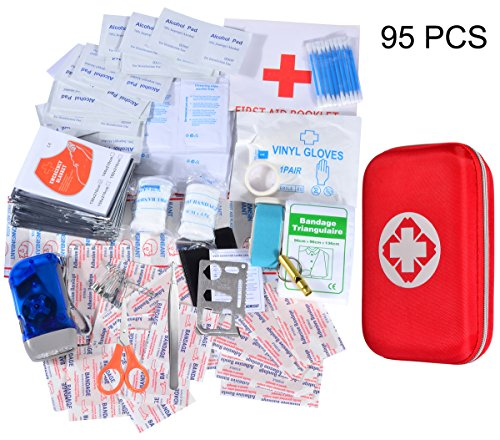 First Aid Kit 204 Piece Survival Medical Kit Waterproof Hard Case Lightweight Compact Portable for Travel Hiking Sports Car Home Workplace Camping