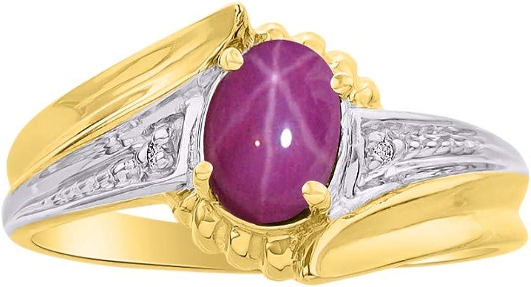 July Birthstone RYLOS Simply Elegant Beautiful Red Ruby /& Diamond Ring