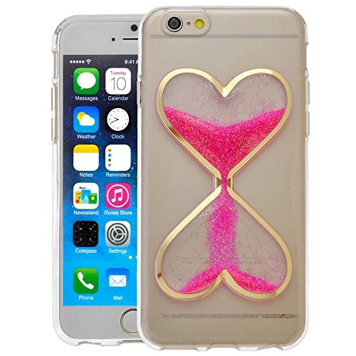 Gravydeals® 3D Love Shape Hourglass Glow in the Dark Hot Pink Heart Quicksand Liquid Luminous Function Transparent Soft TPU Back Case for Apple iPhone 6 Plus / 6S Plus 5.5 Inch (Simple Hourglass)