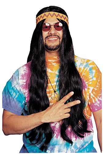 Costume Culture 60's Long Hippie Wig with Headband, Black, One Size (Hippie Dress Up)