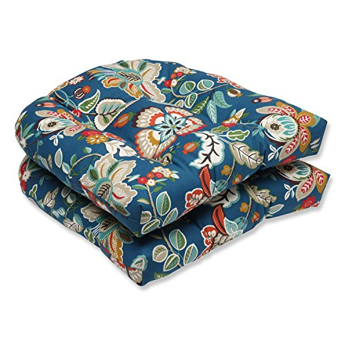 Pillow Perfect Outdoor Telfair Wicker Seat Cushion, Peacock, Set of 2 ()