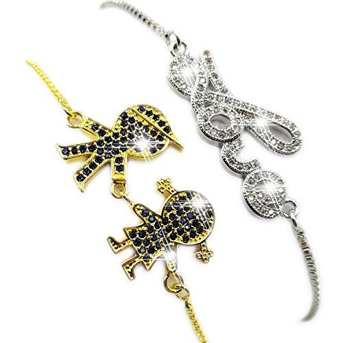 Bling Toman Expandable Adjustable Love Bangle Bracelets Micro Pave CZ Bracelets Hand in Hand Bracelet Valentine's Day Love Gift (Golden Kids)