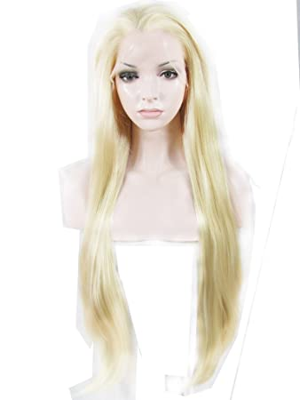 Amazon Com Imstyle Long Bleach Blonde Lace Front Wig Silky Straight