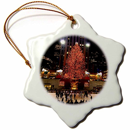 3dRose orn_45489_1 Christmas Lights at Rockefeller Center in New York-Snowflake Ornament, Porcelain, 3-Inch -