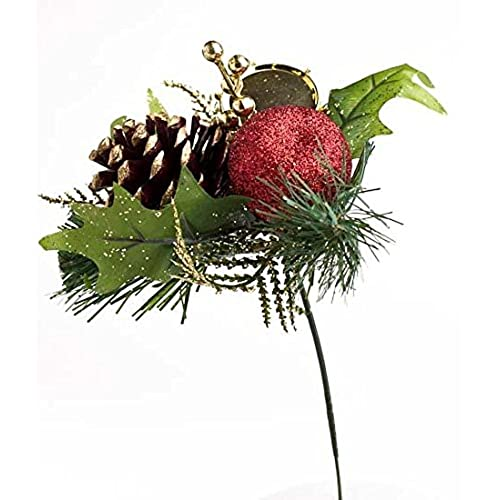collection of 12 festive holiday red pinecones apples and drums artificial christmas floral picks