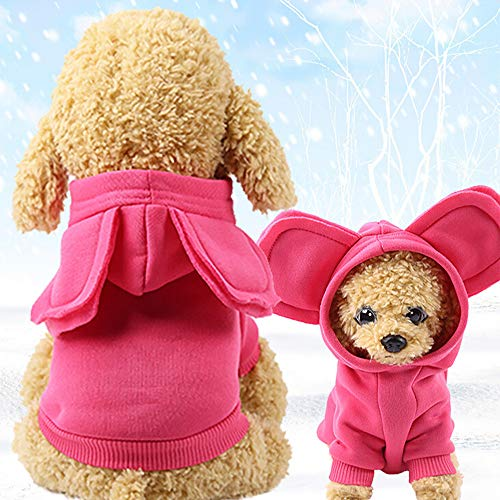 Glumes Pet Clothes, Puppy Hoodie Sweater Dog Coat Warm Big Ears Sweatshirt Letter Printed Shirt for Small Dog Medium Dog Or Cat (S, Hot pink) -