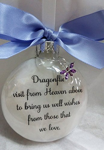 Memorial Christmas Ornament Dragonflies visit from Heaven & Dragonfly Lavender Purple Crystal Charm
