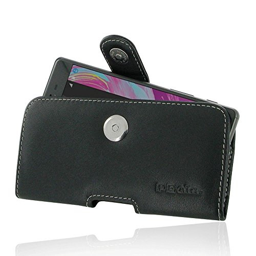 (PDair Genuine Leather Horizontal Pouch Case Cover for Sony Xperia X - Black)