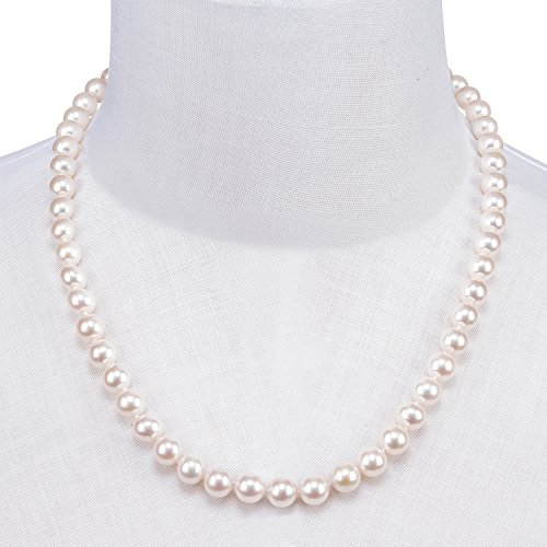PAVOI Sterling Silver White Freshwater Cultured Pearl Necklace (18, 9mm) by PAVOI (Image #1)