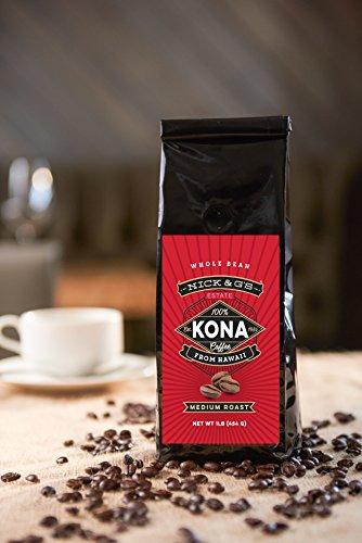 Nick & G's Kona Hawaiian Coffee Whole Bean - Gourmet, 100% Estate Grown, Private Reserve, Hawaii Made, Fresh, Not Blend, Premium, Fresh Farm, Great Hawaii Flavor, Gift Idea (Medium Roast, 16oz) - Reserve Whole Bean Coffee