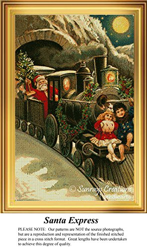 Santa Express, Vintage Christmas Cross Stitch Pattern (Pattern Only, You Provide the Floss and - Stitch Express Cross