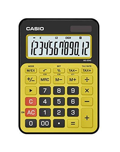 Casio MS-20NC-BYW-S-DC Calculadora Solar de Escritorio, Semi-portátil, Color Amarillo/Negro