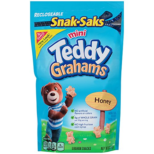 Teddy Grahams Mini Crackers, (Honey, 8-Ounce Snak-Saks, 12-Pack)