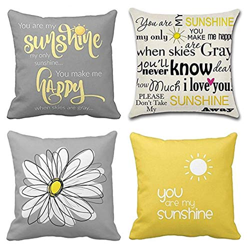 Emvency Set of 4 Throw Pillow Covers You are My Sunshine Yellow Gray with Chevron Words Decorative Pillow Cases Home Decor Square 18x18 Inches Pillowcases (Decorative Pillows Chevron)