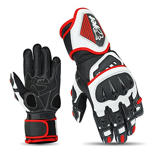 JET Motorcycle Gloves Premium Full Leather Gauntlet Race Hard Knuckle Gloves (Small, Red) (Race Motorcycle Gloves)