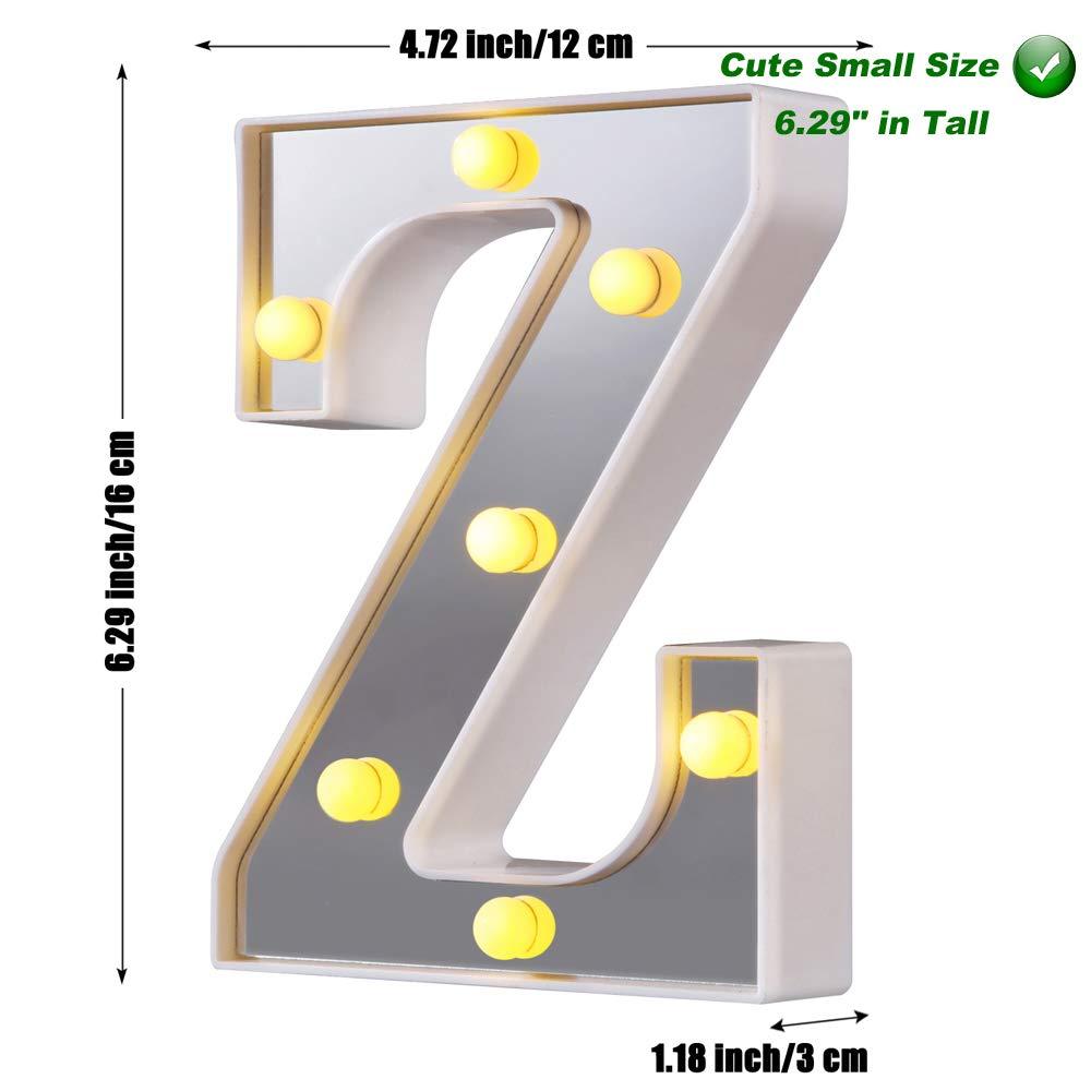 Luci a LED per tendone 26 lettere dellalfabeto illuminano il segno perfetto per la luce notturna Festa di compleanno Matrimonio Lampada di Natale Decorazione per bar di casa Argento, S