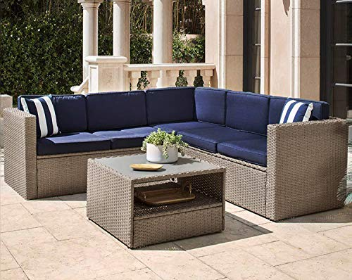 Solaura Outdoor 4-Piece Furniture Sectional Set All Weather Warm Grey Wicker with Nautical Navy Blue Cushions & Sophisticated Glass Coffee Table Conversation Set