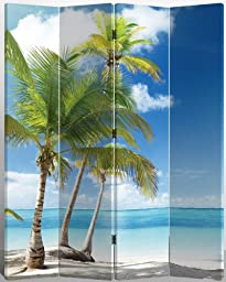 Legacy Deocr 4-panel Canvas Room Screen Divider Double - Sided Virgin Islands Beach Design