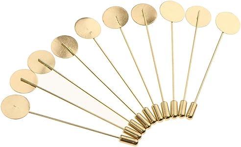 Baoblaze 10pcs Copper Mini Base DIY Glue on Collar Suit Lapel Pin DIY Boutonniere Pin