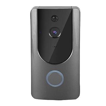 SeSDY Timbre de Video, cámara de Seguridad Inteligente 720P HD WiFi con IR Visión Nocturna Monitor HD Batería de bajo Consumo Inalámbrico DoorBell para iOS ...