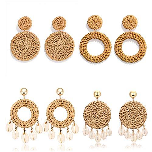 Weave Straw Drop Hoop Disc Teardrop Earrings Set Boho Shell Rattan Dangle Statement Earrings For Women Girls (disk hoop)