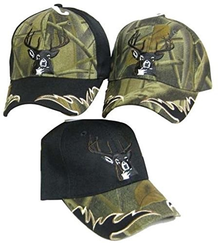 AES Deer Head Buck Head Antlers Hunter Hunting (Full Camo) Embroidered Cap Hat