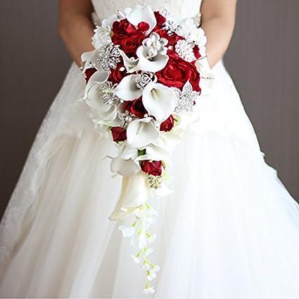 Amazoncom Iffo Calla Lilies Simulation Rose Diamonds Pearl Bride