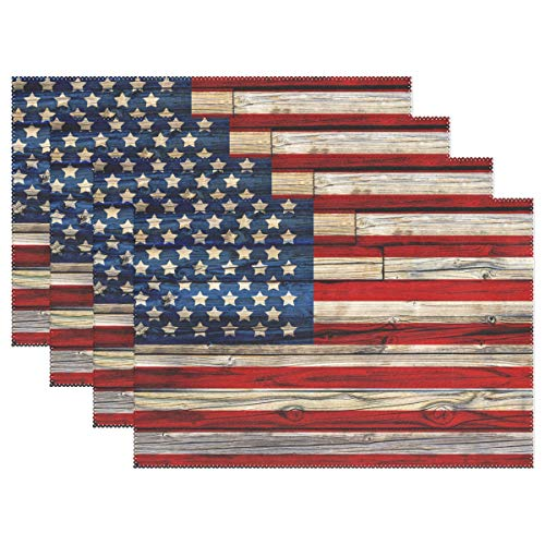 "Naanle Wooden American Flag Placemats Set of 6, 4th of July Star and Stripe Non Slip Heat-Resistant Washable Table Place Mats for Kitchen Dining Table Home Decoration, 12"" x 18"""