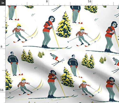 Ski Fabric - Skiing Winter Snow Retro Vintage Mountain Print on Fabric by The Yard - Eco Canvas for Durable Upholstery Home Decor Accessories
