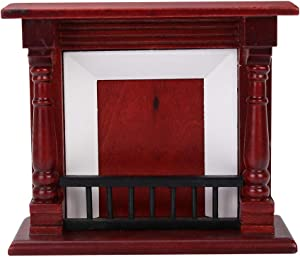 Yinuoday 1:12 Scale Dollhouse Accessories, Miniatures Dollhouse Furniture for DIY Dollhouse Living Room Mini Toy Wood Fireplace for Livingroom Bedroom Simulated Accessory