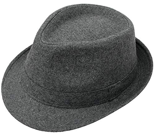 Simplicity Men's Manhattan Fedora Hat Grey Color Cap (Grey Fedora Hat)