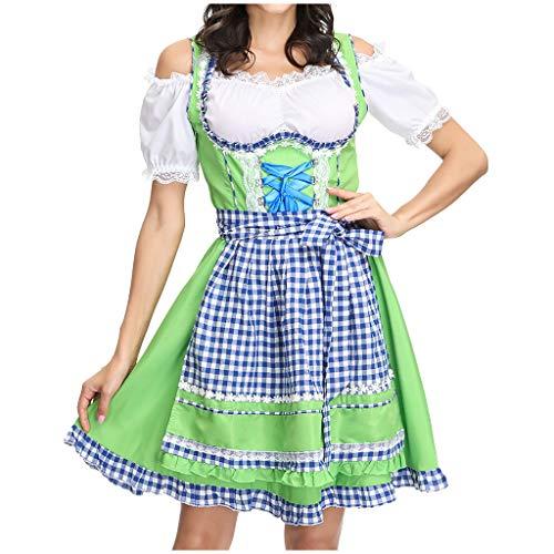 Oktoberfest Waitress Party Dress German Dirndl Fancy Dress Carnival Halloween Costume Maid Outfit Green ()