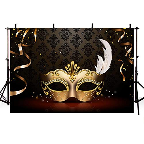 COMOPHOTO Masquerade Photography Backdrops Golden Mask Dark Retro Pattern Stage Photo Background for Birthday Party Banner Decoration -