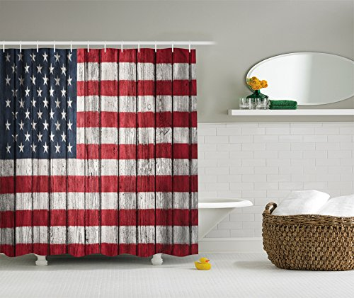 American Flag Decor Shower Curtain by Ambesonne, Fourth of July Independence Day and the USA Flag Painted on Wooden Plank Pattern, Polyester Fabric Bathroom Set with Hooks, 69 X 70 Inches, Red Blue