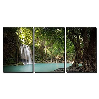3 Piece Canvas Wall Art - Tropical Forest Waterfall Lake - Modern Home Art Stretched and Framed Ready to Hang - 16