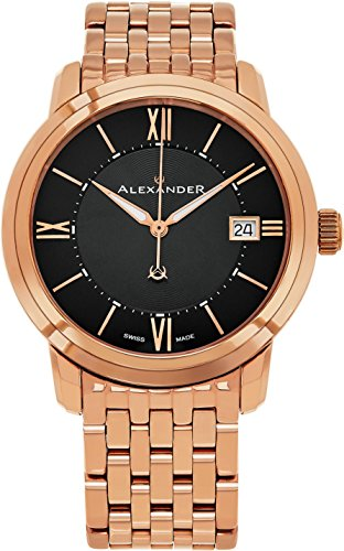 (Alexander Heroic Macedon Mens Rose Gold Watch Metal Band - 40mm Analog Black Face with Second Hand Date and Sapphire Crystal - Classic Swiss Made Quartz Dress Watches for Men Gold Tone A111B-07 )