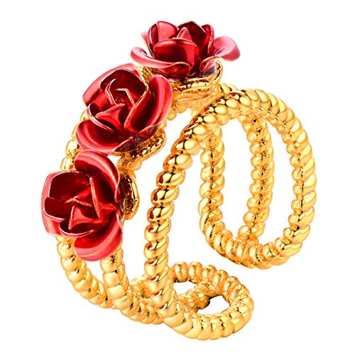 U7 You are My Rose Ring 18K Gold Plated 3-Line Red Flower Adjustable Free Size Open Ring (18 Ct Ring)