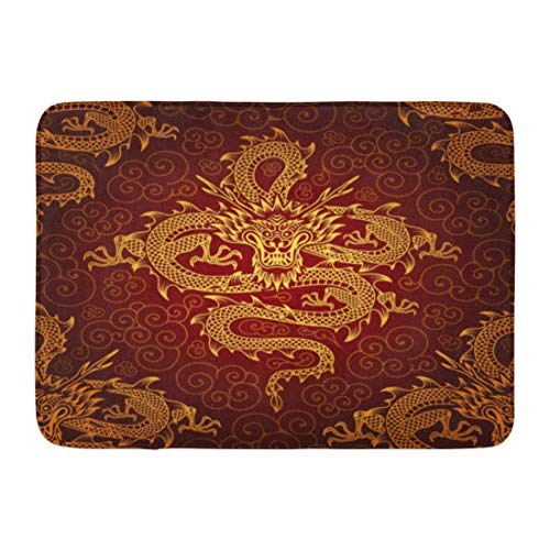 (Emvency Doormats Bath Rug Bath Mat Non Slip Indoor Door Mat Red Ship Yellow Chinese Dragons Pattern Asian Japanese Oriental Gold Bathroom Rug Rectangle 16